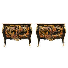 Pair of Marble-Top Chinoiserie Bronze-Mounted Commodes, Possibly Jansen