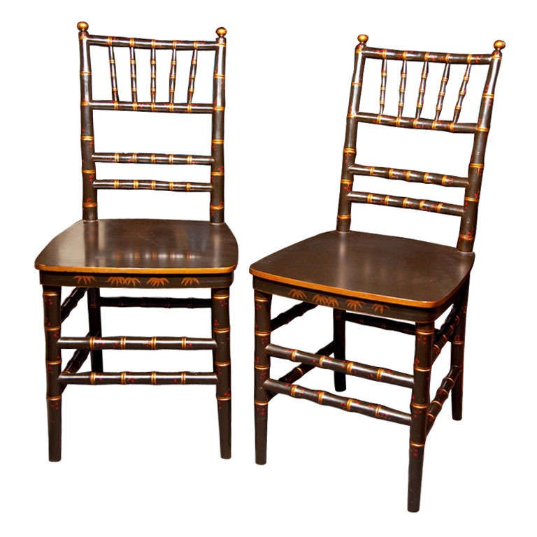 pair of chinoiserie faux bamboo dining chairs for sale at 1stdibs