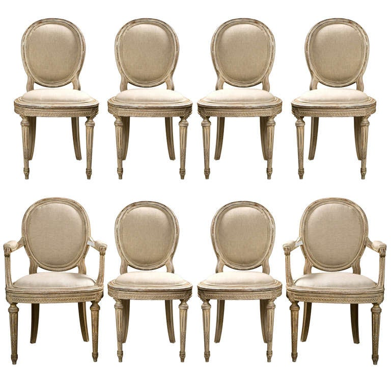 Set of 8 french louis xvi style painted dining chairs jansen at