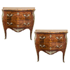 Pair of Marble-Top Bombe Commodes
