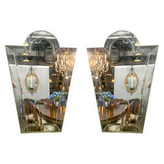 Pair of Venetian 'Key Hole' Shaped Beveled Glass Mirrors Hollywood Regency Style