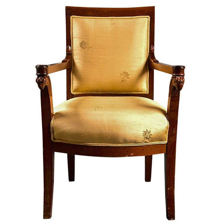Russian Neoclassical Fauteuil Armchair in Silk Fabric
