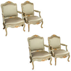 Set of Four Louis XVI Style Parcel-Gilt and Paint Decorated Armchairs