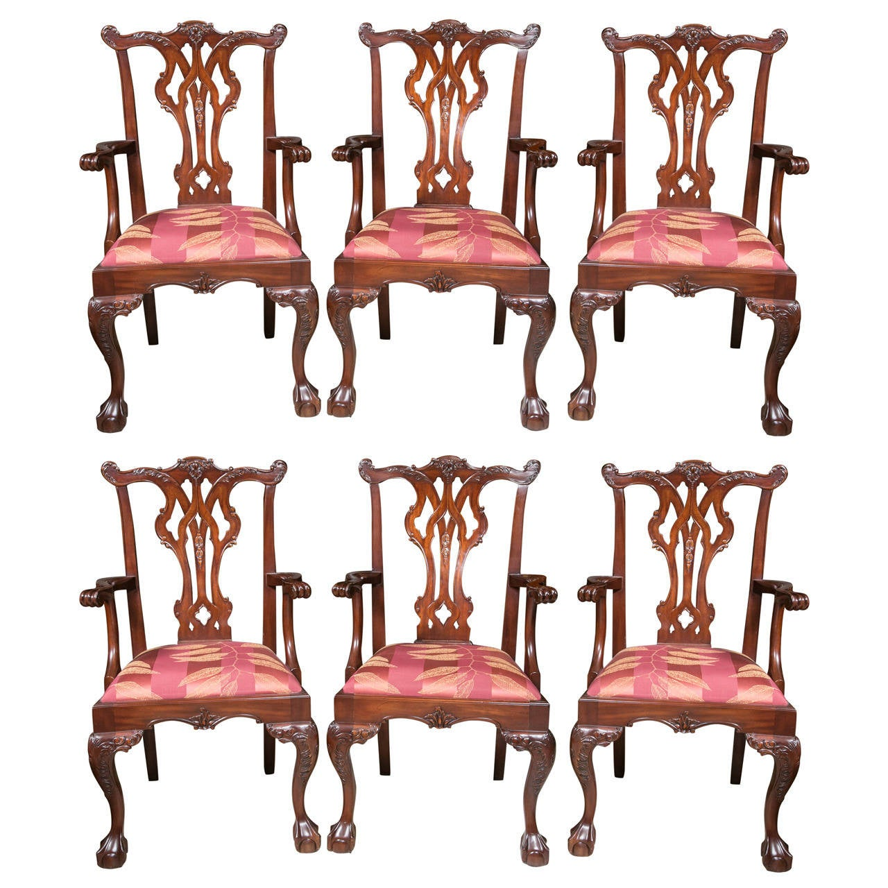 Chippendale Dining Room Set: Set Of Six Chippendale Style Mahogany Ball And Claw Dining