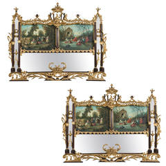 Pair Of Swedish Gustavian Style Trumeau Mirrors For Sale