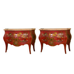 Pair of Early 20th Century French Chinoiserie Commodes by Jansen
