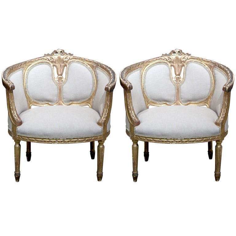 Pair of French Louis XV Gilded Bergere Chairs at 1stdibs