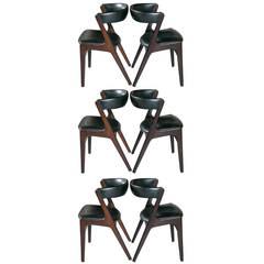 Set of Six Danish Barrel Back Leather Kofod-Larsen Style Dining Chairs