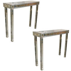 Pair of Jansen Style Verne Églomisé Console Tables