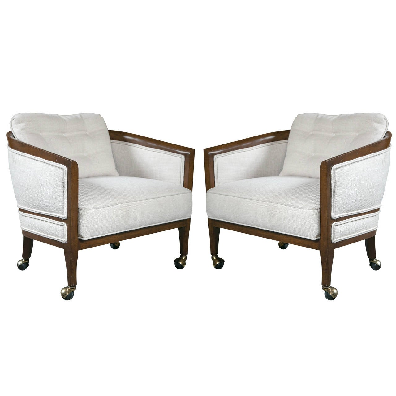 Pair of Mid Century Club Chairs on Casters For Sale at 1stdibs