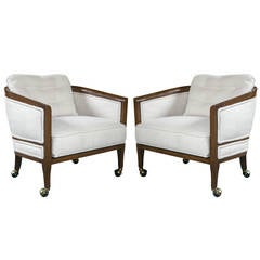 Pair of Fine Custom Quality Barrel Back Mid-Century Club Chairs on Casters