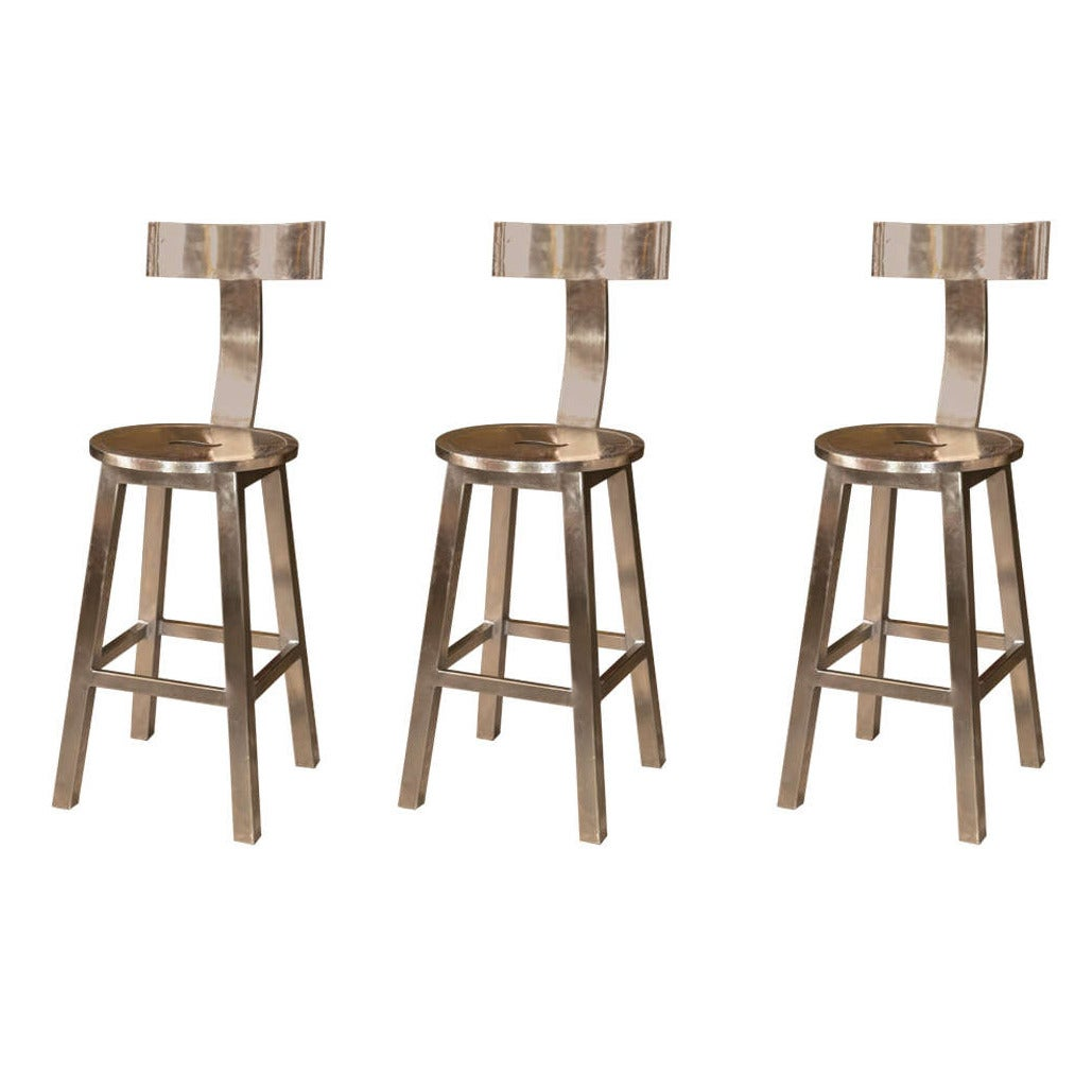 set of three deco styled bar stools at 1stdibs. Black Bedroom Furniture Sets. Home Design Ideas
