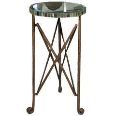Decorative Circular Mirror Top Patinated Metal Stand On Scrolled Feet