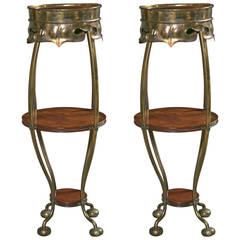 Pair of Art Deco Brass Rosewood Pedestal Stands Brass Circular Feet Sleek Design