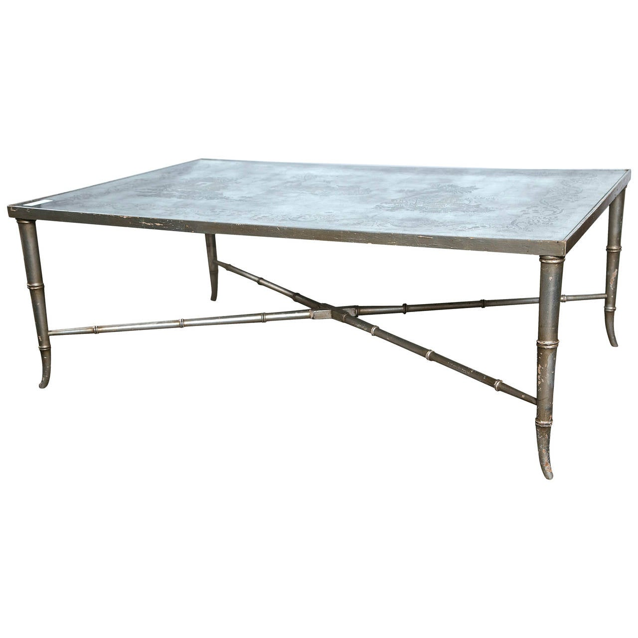 Glomis Chinoiserie Glass Top Coffee Table By Maison Jansen At 1stdibs