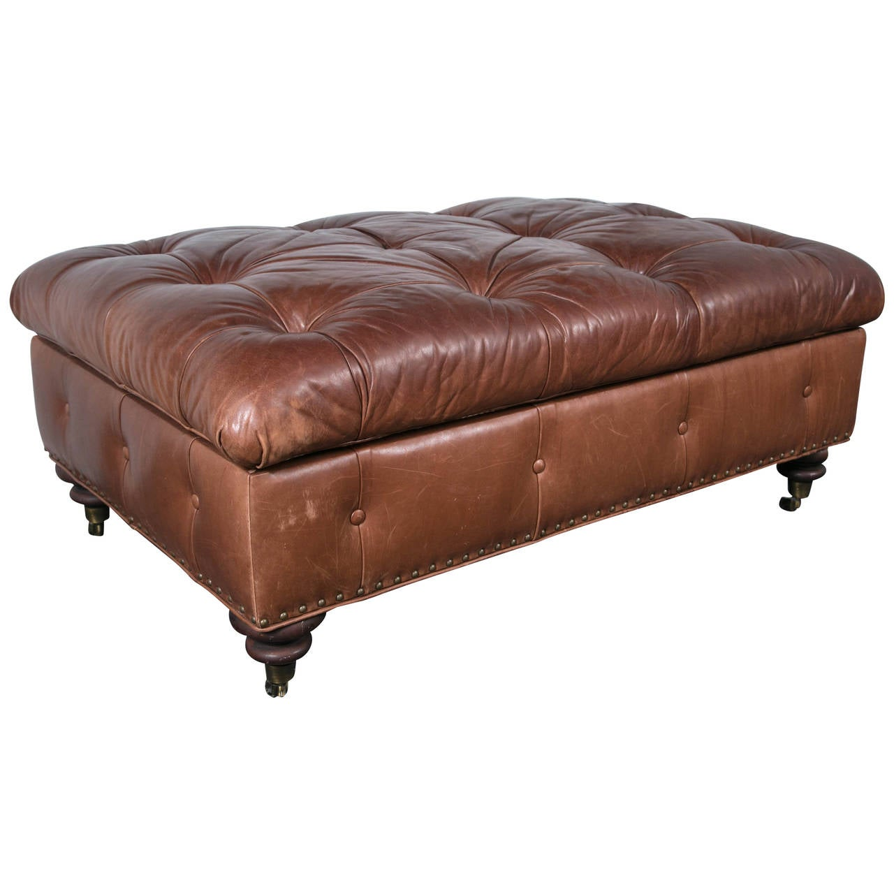 Ralph Lauren Leather Storage Ottoman Bench At 1stdibs