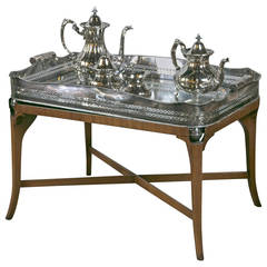 Hollywood Regency Silver Plated Serving Tray on Stand