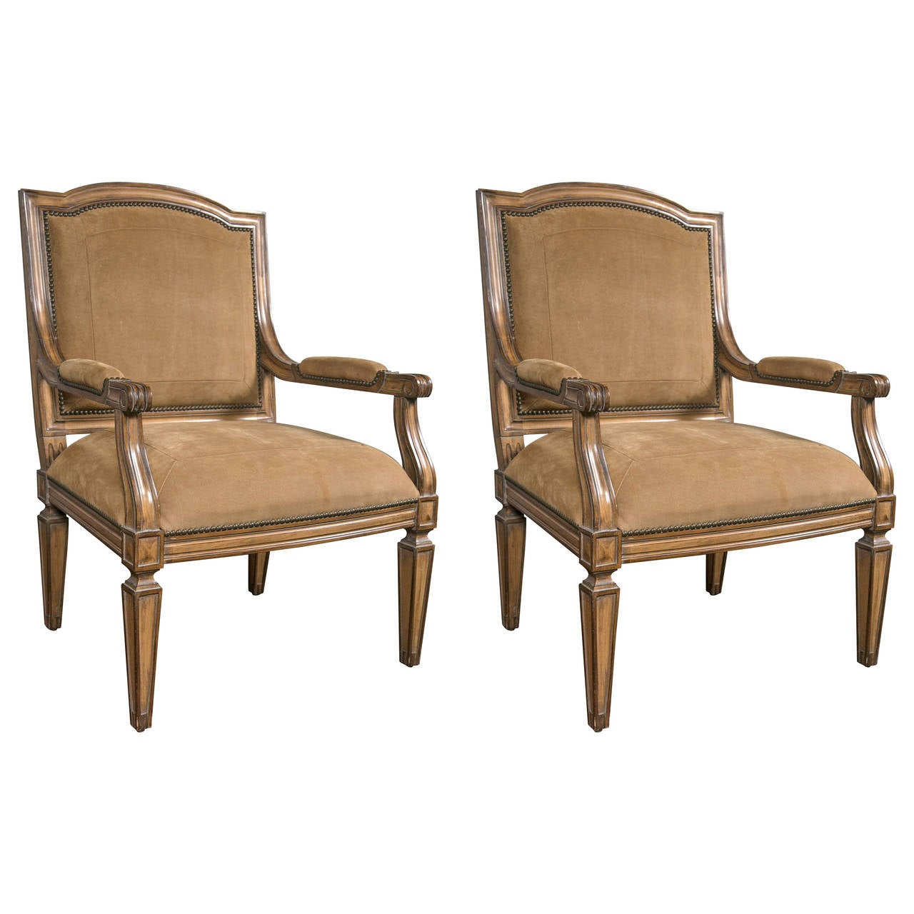 Pair of Kreiss Custom Quality Louis XVI Style Armchairs with Suede Upholstery
