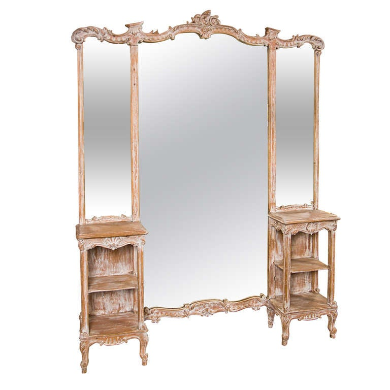 French three panel dressing mirror vanity at 1stdibs for Floor length vanity mirror
