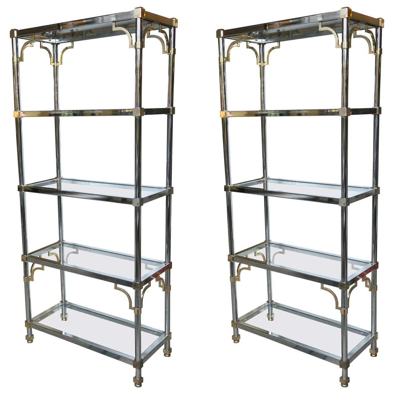 pair of brass and chrome etageres attributed to maison jansen at 1stdibs. Black Bedroom Furniture Sets. Home Design Ideas