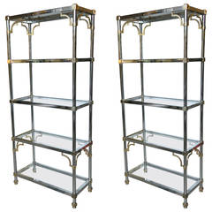 Pair of Brass and Chrome Etageres Attributed to Maison Jansen