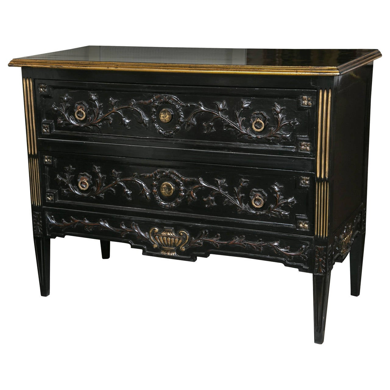 Neoclassical Style Ebonized Highly Carved Commode in the Style of Maison Jansen