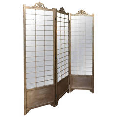 Hollywood Regency Mirror and Silver Distressed Finish Gilt Screen Room Divider