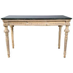 Louis XVI Forest Green Marble-Top Distress Console Table Manner of Jansen