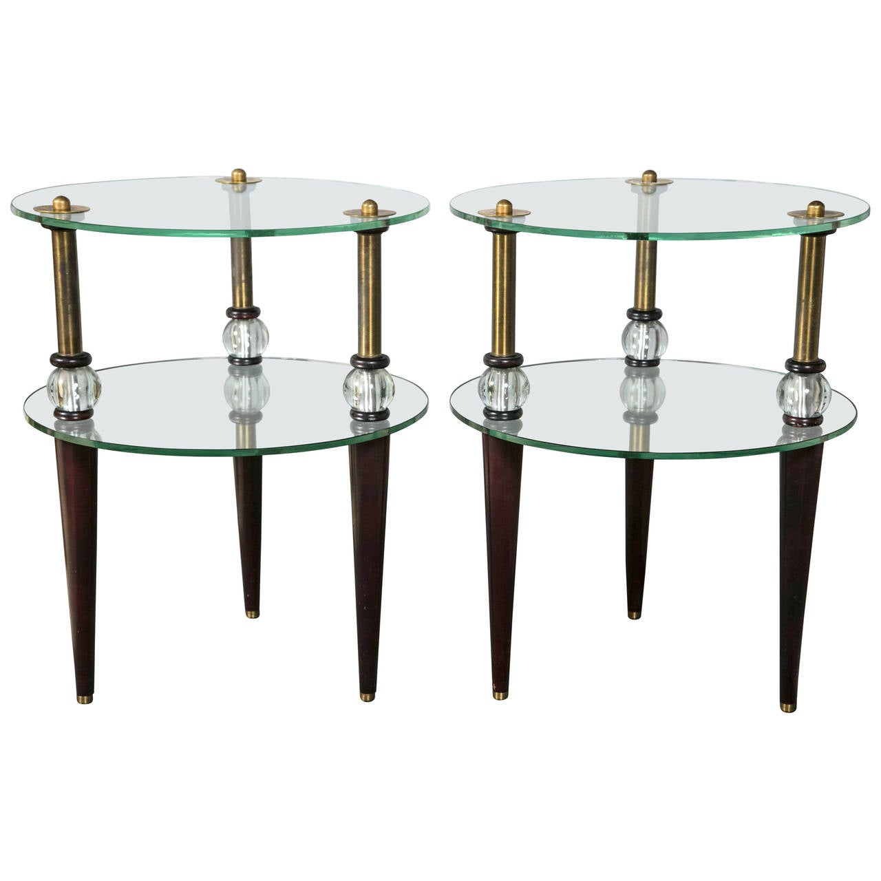 Pair Art Deco Glass And Mirror End Tables Mid-Century