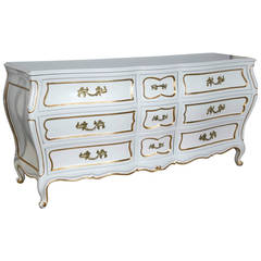 White And Gilt Paint Lacquered Louis XV Style Bombe Nine Drawer Dresser