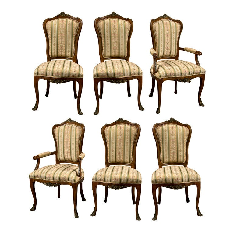 Set Of Six Side French Dining Room Chairs Style Of Linke 1