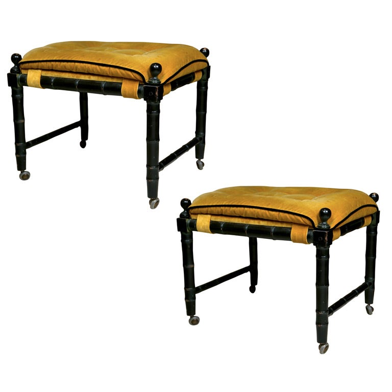 Pair of decorative faux bamboo benches at 1stdibs Decorative benches