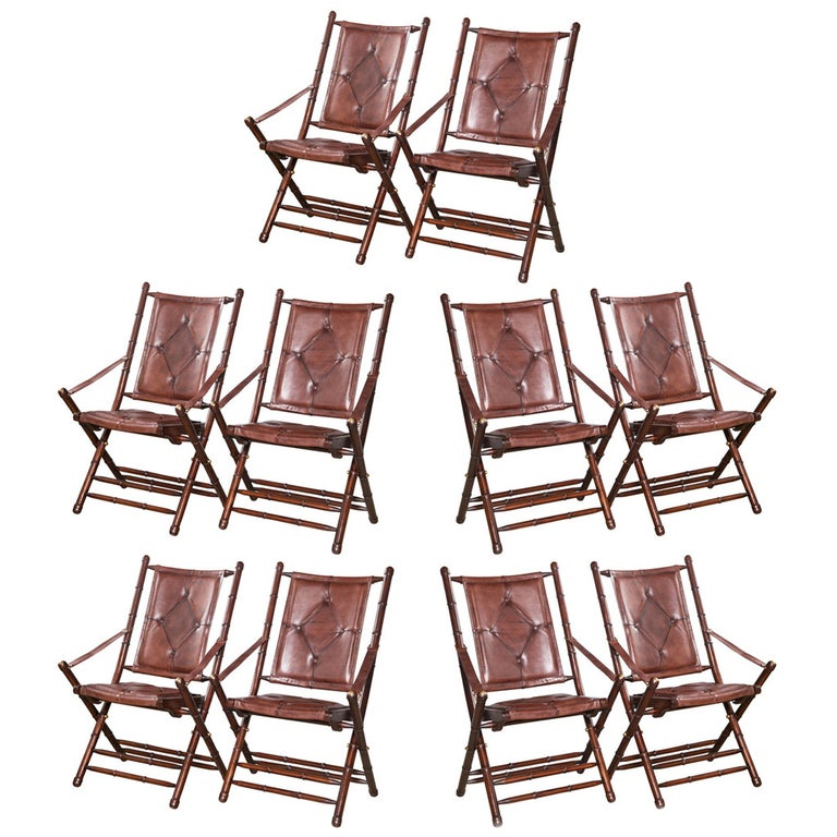 Set Eighteen Leather Bamboo Style Folding Chairs In Fine Button Tufted Leather For Sale