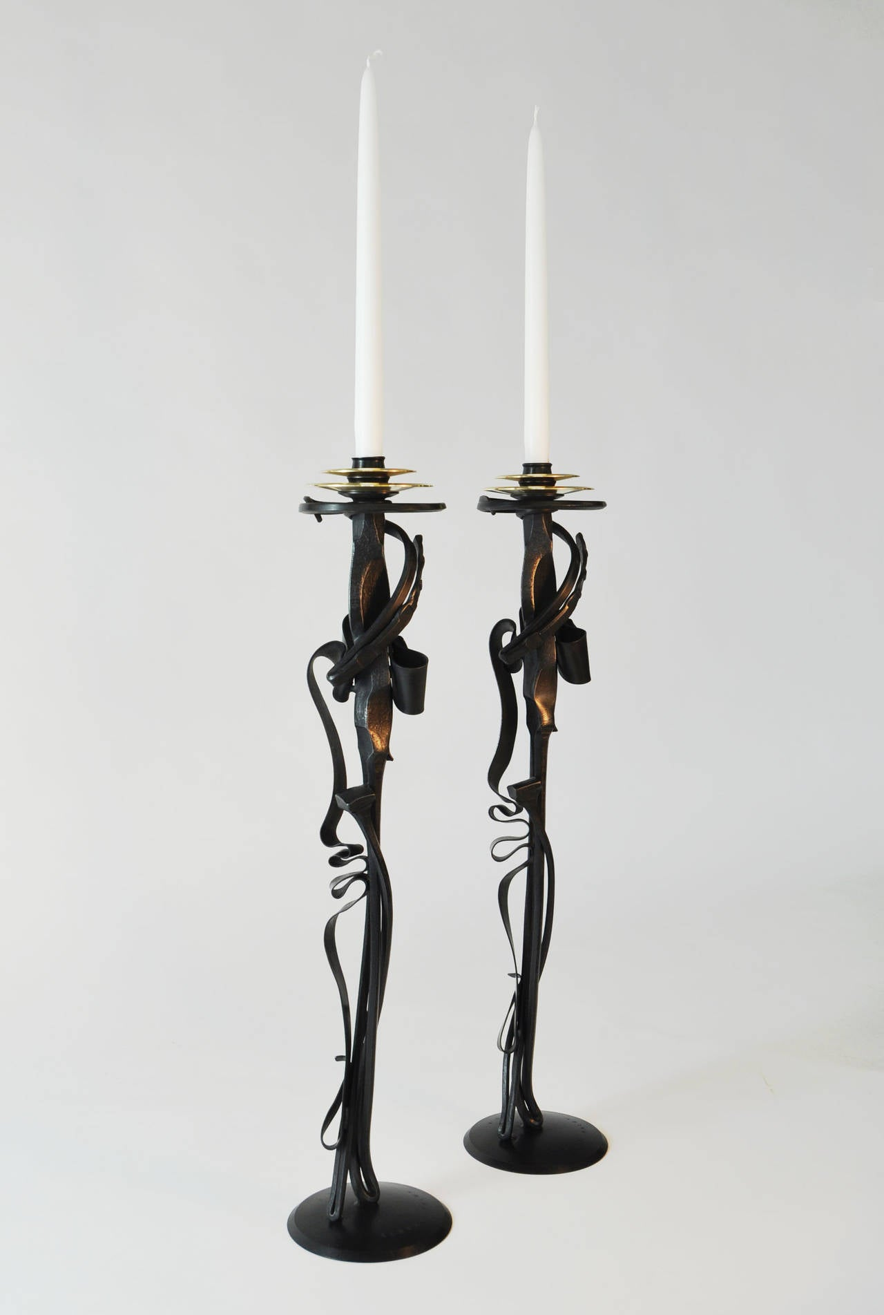 Pair of albert paley scepter candleholders blackened for Jill alberts jewelry highland park
