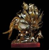 Albert paley elephant sculpture metal with wood base for Jill alberts jewelry highland park