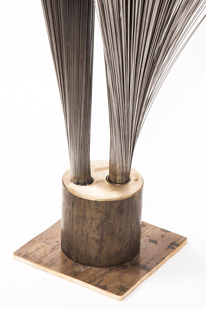 "American Val Bertoia ""Double Vertical Spray Sculpture,"" Steel Wires with Brass Base, 2014 For Sale"