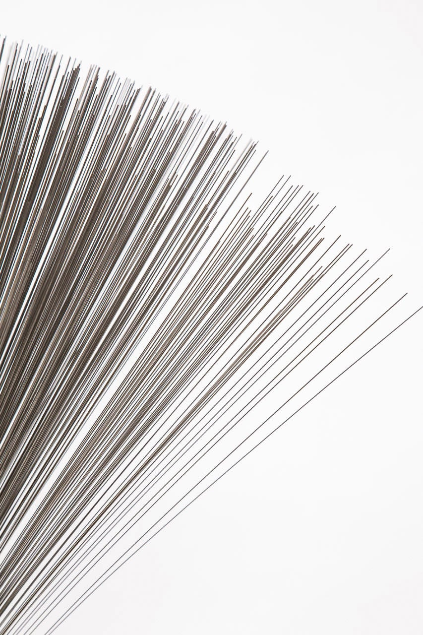 "Silvered Val Bertoia ""Double Vertical Spray Sculpture,"" Steel Wires with Brass Base, 2014 For Sale"