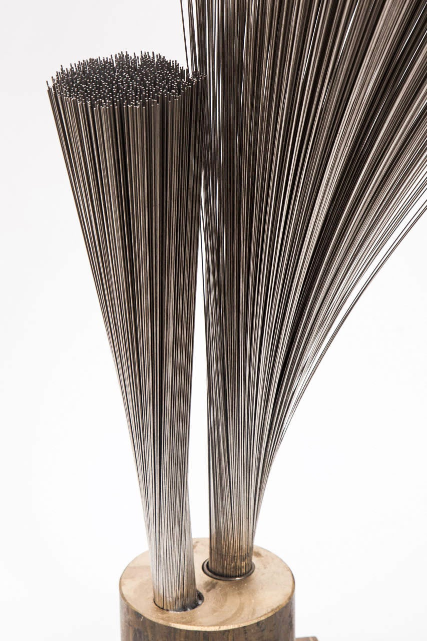 "Val Bertoia ""Double Vertical Spray Sculpture,"" Steel Wires with Brass Base, 2014 In Excellent Condition For Sale In New York, NY"