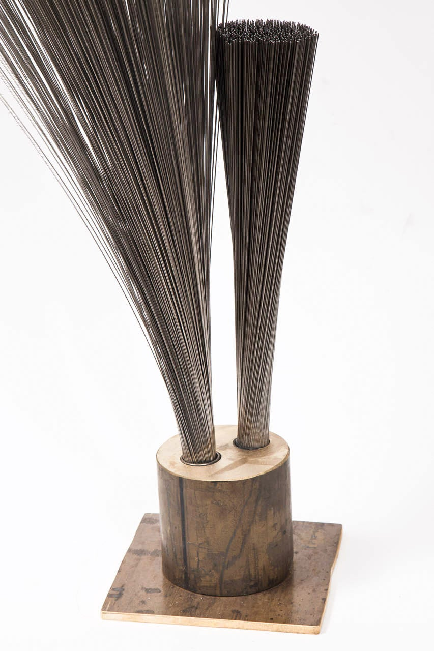 "Val Bertoia ""Double Vertical Spray Sculpture,"" Steel Wires with Brass Base, 2014 For Sale 2"