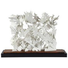 """Albert Paley """"Interlace Sculpture"""", White Metal with Wood Base, 2013"""
