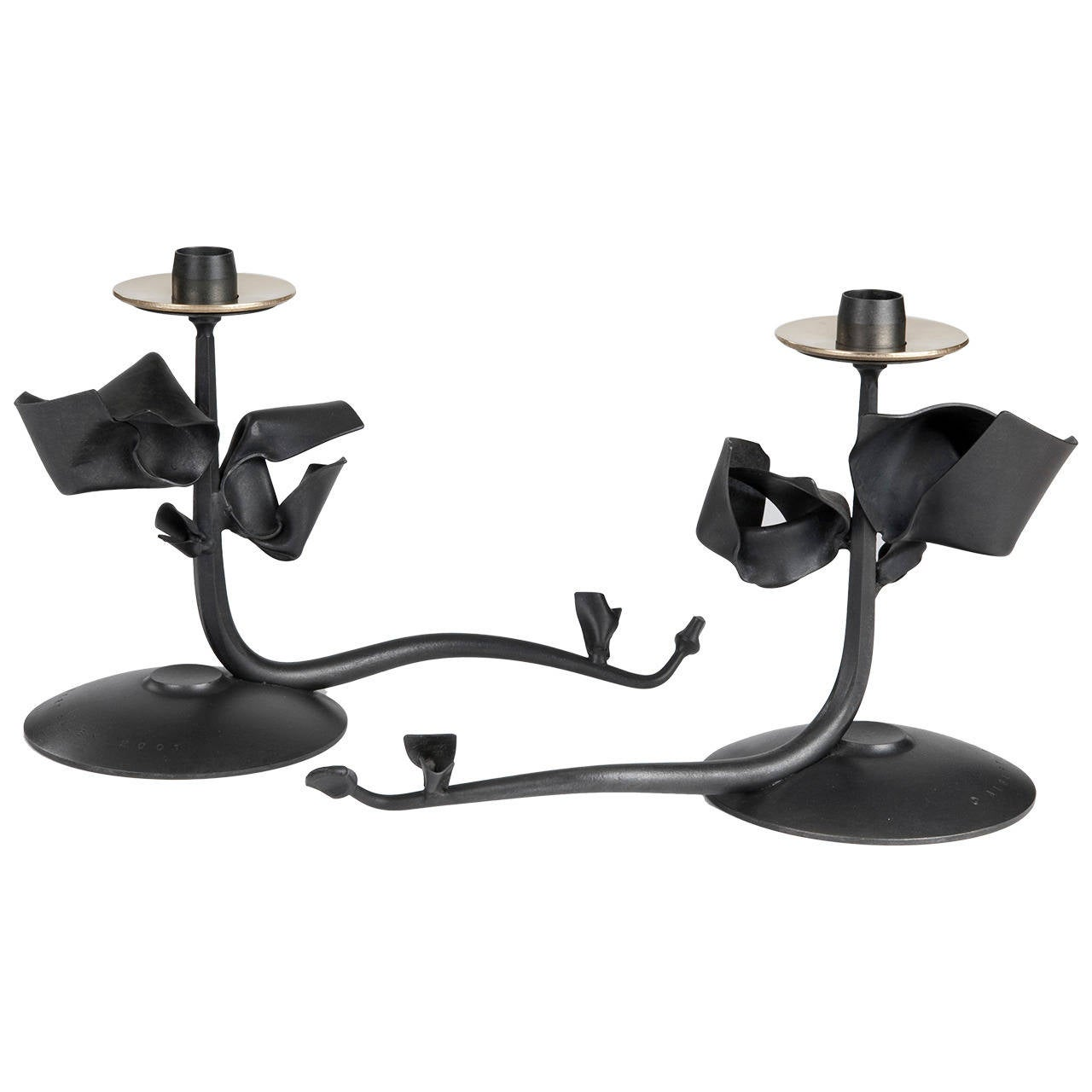 "Pair of Albert Paley ""Tuft Candleholders"", Blackened Metal and Brass, 2001"