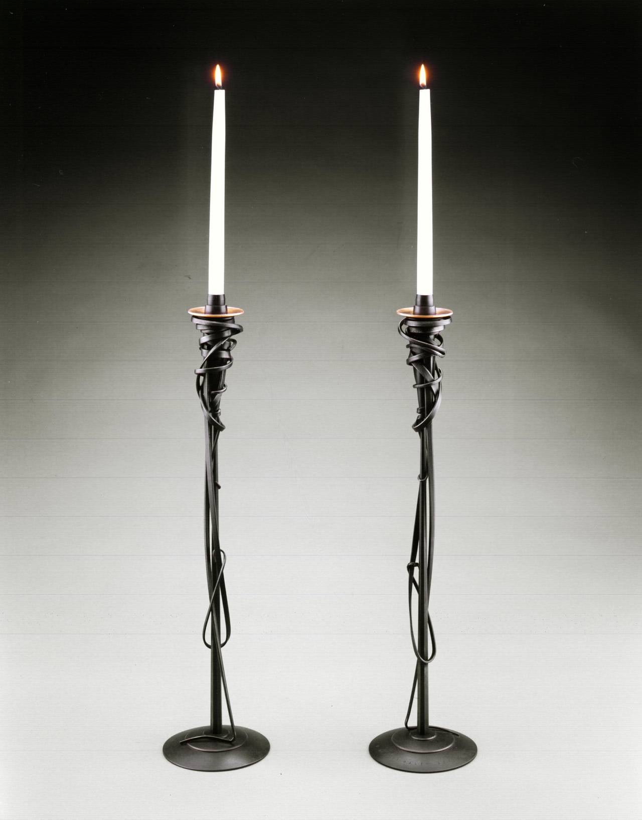 Pair of albert paley tall candleholders blackened metal for Jill alberts jewelry highland park