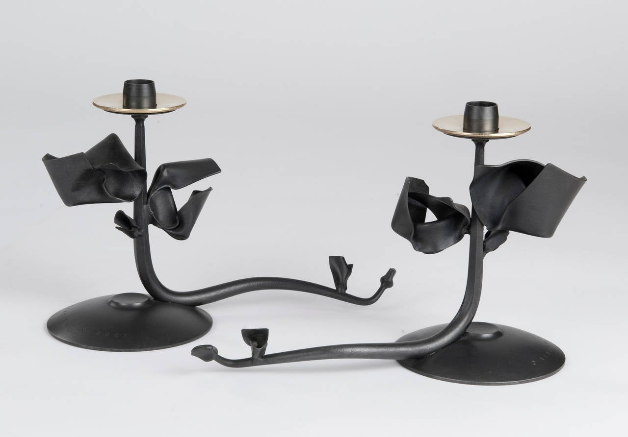 Pair of albert paley tuft candleholders blackened metal for Jill alberts jewelry highland park
