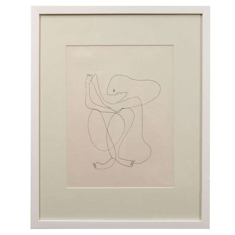 Anthony Quinn Untitled Original Pen and Ink on Paper, 1970 For Sale