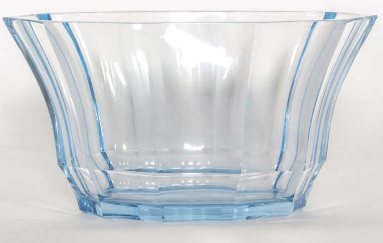 Josef Hoffmann cut and ground clear light blue bowl / vase made by Ludwig Moser & Söhne, Karlsbad for the Wiener Werkstätte. Signed.