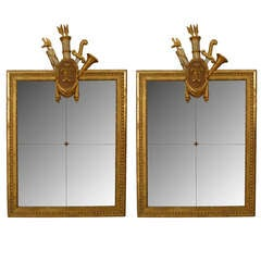 Pair Of  Early 19th c. Italian Neoclassic Gilt Carved Wall Mirrors