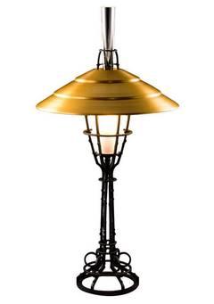 "Albert Paley ""Corona Table Lamp"", Blackened Metal and Glass, 1999"