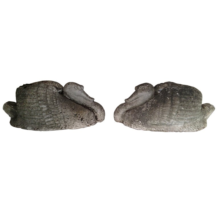 Pair of Sinuous Stylized Cast Stone Swans