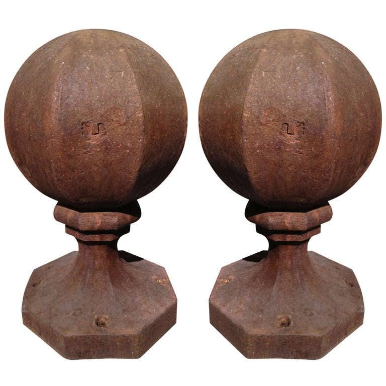 Pair of Unusual English Octagonal Cast Iron Finials
