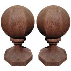 Pair of Unusual Octagonal Cast Iron Finials